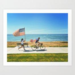 America flag bicycle Art Print
