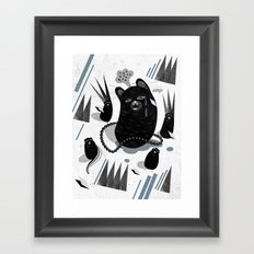 Cat in snow Framed Art Print