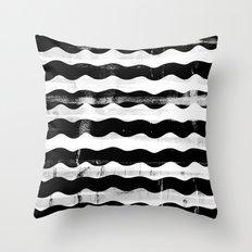 Black Waves Throw Pillow