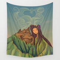 karen hallion Wall Tapestries featuring Volcano Love by Karen Hallion Illustrations