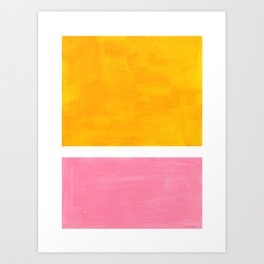 Pastel Yellow Pink Rothko Minimalist Mid Century Abstract Color Field Squares Art Print