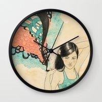 swim Wall Clocks featuring swim by Laura Graves