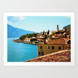 Limone Sul Garda Lake Garda Italy photo painting  Art Print