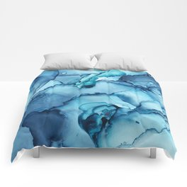 The Blue Abyss - Alcohol Ink Painting Comforters