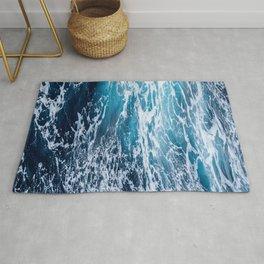 Photograph of beautiful dark blue ocean Rug