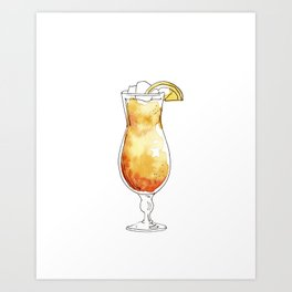 Watercolor hand-painted cocktail illustration Art Print