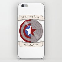 bucky barnes iPhone & iPod Skins featuring Steve Rogers and Bucky Barnes Shield by Mallory Anne