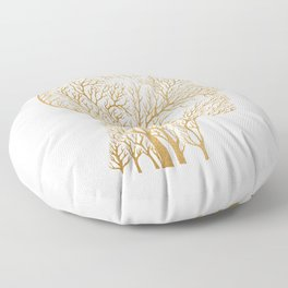 Head Profile Branches - Gold Floor Pillow