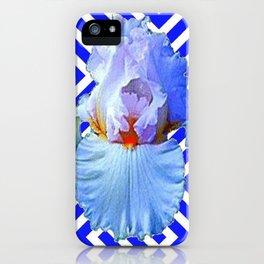 MODERN BLUE & WHITE ART DECO PATTERN IRIS iPhone Case