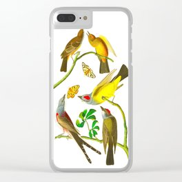 Vintage Scientific Bird Butterfly & Floral Illustration Clear iPhone Case
