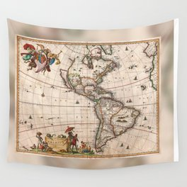 1658 Visscher Map of North America and South America (with 2015 enhancements)  Wall Tapestry