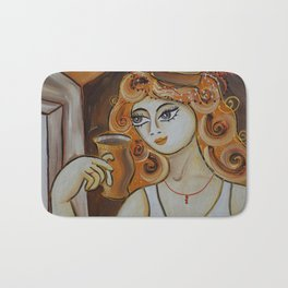 Portrait of a burlesque girl with mug brown painting by Ksavera Bath Mat