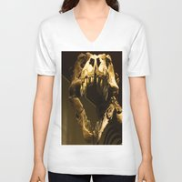 t rex V-neck T-shirts featuring T-Rex by Vito Fabrizio Brugnola