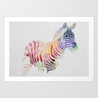 zebra Art Prints featuring Colourful Zebra by Andreas Lie