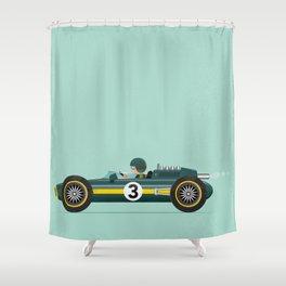Green Retro Racing Car Shower Curtain