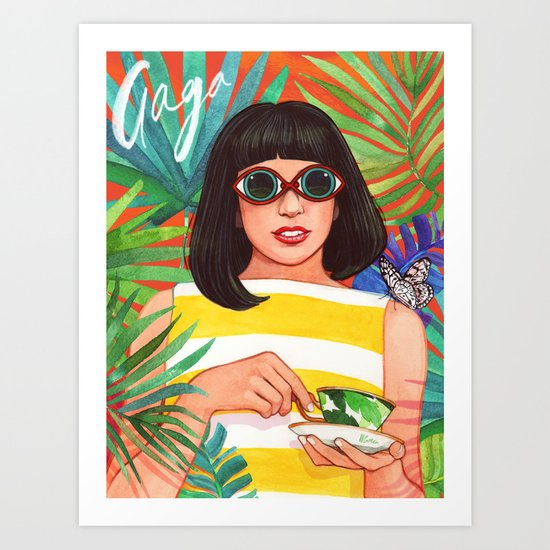 Palms and Stripes Art Print
