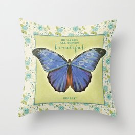 Fly By Faith Butterfly by Terri Conrad Designs Throw Pillow