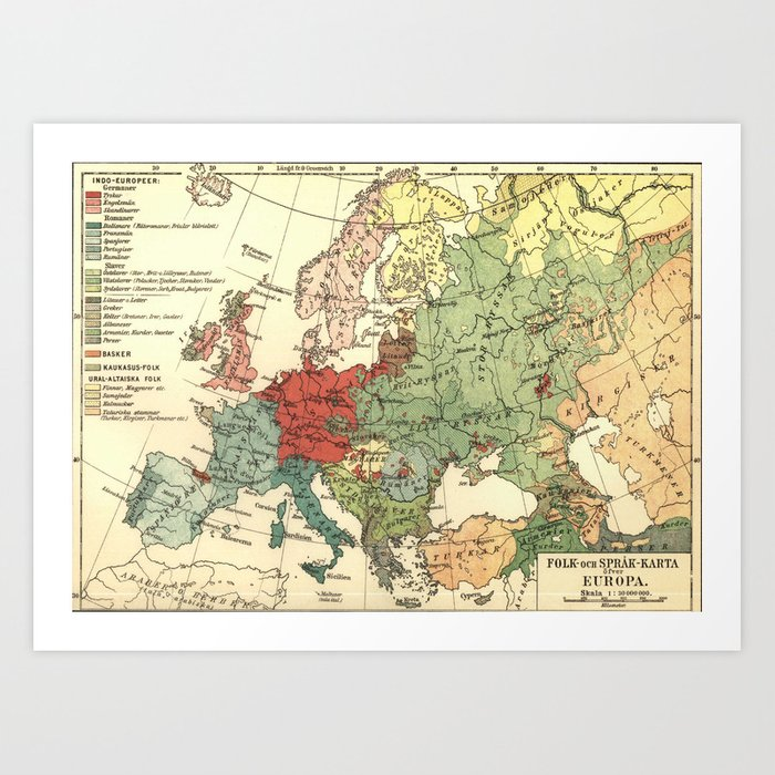 Vintage Linguistic Map Of Europe (1907) Art Print