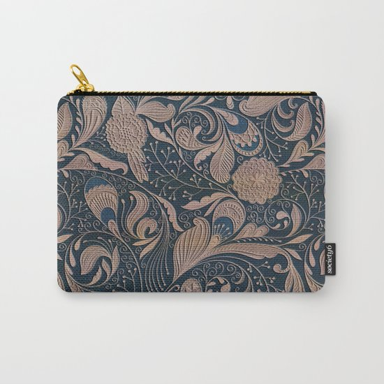 Carved Floral Pattern Carry-All Pouch