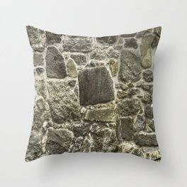 Weathered Stone Wall rustic decor Throw Pillow