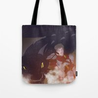 dungeons and dragons Tote Bags featuring Dragons and Direction: Louis by invisibleinnocence