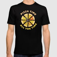 Pizza Time All the Time Mens Fitted Tee MEDIUM Black