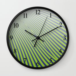 Green Diagonal Stripes Wall Clock