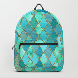 Aqua Teal Mint and Gold Oriental Moroccan Tile pattern Backpack
