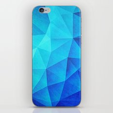 Abstract Polygon Multi Color Cubizm Painting in ice blue iPhone Skin