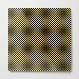 Black and Lemon Drop Polka Dots Metal Print