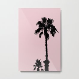 Palm Tree Silhouettes On Pink Metal Print