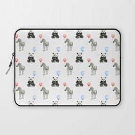 Panda and Zebra Balloons Pattern, Baby Animals Birthday Pattern Laptop Sleeve