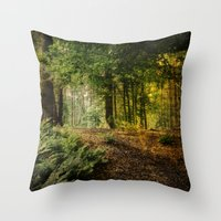 woodland Throw Pillows featuring Woodland by ZenzPhotography