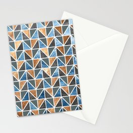 Gold Steel Ice geometric pattern Stationery Cards