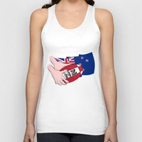new zealand Tank Tops featuring Rugby Ball New Zealand by mailboxdisco