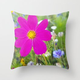 Flowers Go Wild in Wimbledon 5 - Cosmos the bold Throw Pillow