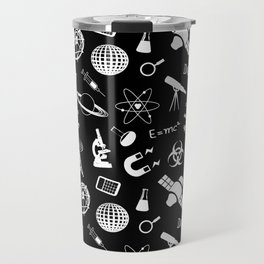 Science Symbols on Black Travel Mug