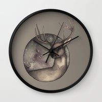 antlers Wall Clocks featuring Antlers by Ericaphant