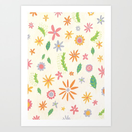 Colourful Daisies Art Print