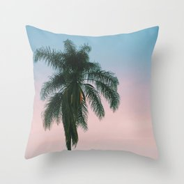 Pastel Sky Palm Tree - Los Angeles, California Throw Pillow
