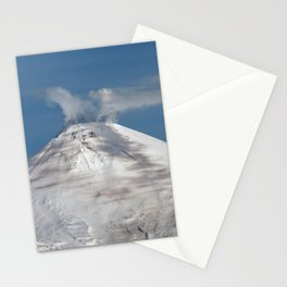 Top view of volcanic cone, fumaroles activity, steam and gas eruption from volcano crater Stationery Cards