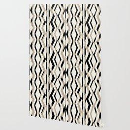 Abstract Cream Brown Black Geometric Pattern Wallpaper
