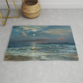 Moonlit Beach Seascape No. 2 landscape painting by Thomas Moran Rug