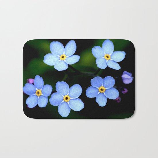 Tiny Blue Flowers Bath Mat