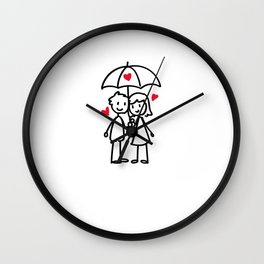 Couple in love gift cute stick figures Wall Clock