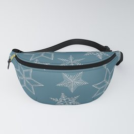 Silver Snowflakes On Teal Background Fanny Pack