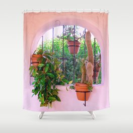 Potted Plants Behind Bars on Porch Shower Curtain