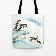 Jumping Penguins - Watercolor Tote Bag