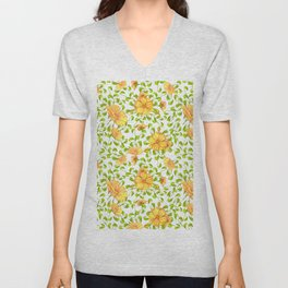 Elegant yellow green watercolor hand painted floral Unisex V-Neck