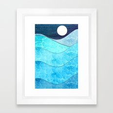 Ice Blue Waves Framed Art Print
